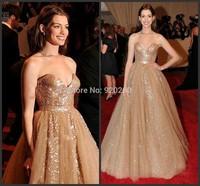 Robe De Soiree 2014 Real Sample Luxury Gold Abendkleider Sequined Long A Line Evening Dresses Formal Vestido de renda 2015