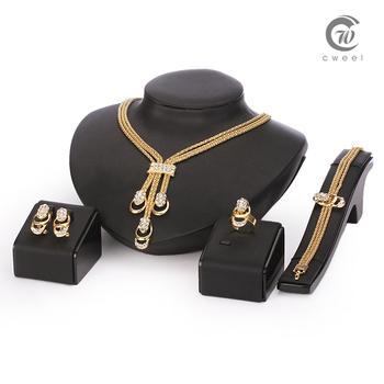 Комплект ювелирных изделий для женщин золото Glated бусины воротник ожерелье серьги браслет кольца комплект ну вечеринку костюм последние мода модный