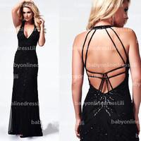 New fashion black prom dress deep v neck halter straps backless sexy evening dress2014 1911M