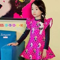 z03453 Wholesale Girl Frozen Dress Long sleeves Baby girl dress children dressKids costumes Free shipping