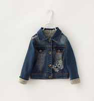 Girls Spring Outerwear Casual Denim Jacket Kids Fashion Floral Full Sleeve Turn-down Collar Coat Children Clothing 5psc/ LOT