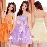 L-3XL Elegant Ladies Plus Size Lace Patchwork Gauze Hem Strapless Formal Dresses With Ribbon Bow Women Short Party Dresses 3116