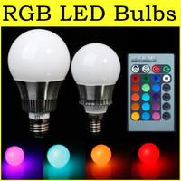 2015 The Latest E27/E14 5W 10W RGB LED Light Color Change Lamp Bulb 85-265V+Remote Control Free Shipping