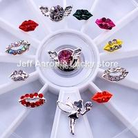 12 Mixed Styles Lipstick Nail Art Glitter Rhinestones Wheel Metal Nail Decorations Design Tools Jewelry #12