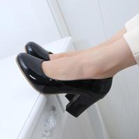 work shoes female black  medium hells shoes ol round toe gentlewomen single  women's shoes thick heel