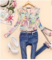 Blusas Femininas 2015 Women Tops Long Sleeve V-Neck Plus Size Flower Print Blouses Shirts