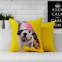 Cute cartoon dog  pillow cushion cover Yellow Pillow  Pillowcases office home Decorative sofa cushions Car Cushion 45cm*45cm