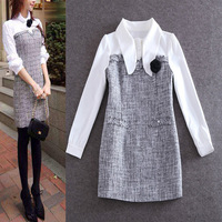 European Grand Prix 2014 autumn and winter women's boutique new Slim hit color aristocratic ladies tweed dress