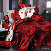 NEW red rose 3d bedding set queen size red flower 100% cotton bed sheet/duvet cover/bedspread reactive printed freeshipping