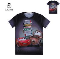 [Magic] City Cartoon Car men new 3d t shirt high quality cotton t-shirt summer tee short sleeve casual tshirt LY235 free ship