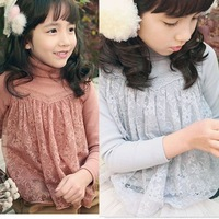 2015 spring autumn new arrival girls fashion turtleneck lace underwear kids korea design all match tops 1085