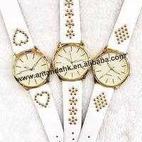 2015 Geneva Style No logo Quartz Watch Fashion Heart FLower Rhombus Pattern Man Women Dress Watches Gold Casual Wristwatches