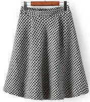2015 Spring New Fashion European and American style Women's 9986 Elastic waist joker classic Plaid woolen skirt st1910