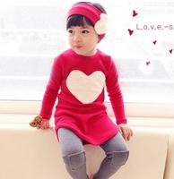 3PCS LOVE SET= 1pc hair band+1pc shirts+1pc pants Children's Clothing set Girls Clothes suits Pink Red Heart Design