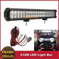 20 Inch OSRAM 210W Offroad LED Bar Light Spot Flood Combo ATV SUV Yacht Mining Truck Wagon 4WD 4X4 AWD Auto Car DRL Driving Lamp