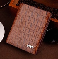 men's credit card pocket Purses fine coffee Genuine Leather top purse wallet Crocodile pattern purse and wholesale Free Shipping