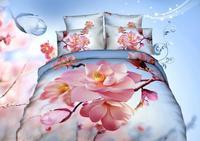 Quilt cover sets100%cotton wedding 3d bedding set/bedspread/FLOWER print bedding set/bed set/duvet cover/sheet animal print