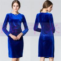 2014 autumn and winter one-piece dress fashion one-piece dress basic advanced gold velvet slim long-sleeve dress women dress