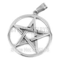 Free shipping! Five Star Shield Pendant Stainless Steel Jewelry Fashion Biker Circle Star Pendant Punk Style SWP0298