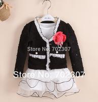2015 new style Retail Baby Long sleeve coat + dress children cute autumn black 2pcs clothing sets free shipping  T-set