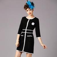 S-5XL Brand 2015 Spring Autumn Ladies Black White Contrast Color Split Line Half Sleeve Slim big Size Dress With Corsage XXXXXL