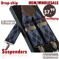 BD3W01 fashion plaid Casual male suspender clip western-style trousers elastic spaghetti strap clip, man suspenders free shiping