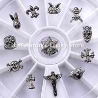 12 Mixed Styles Chrome Alloy Nail Art Rhinestones Wheel Metal Nail Decorations Design Tools #15