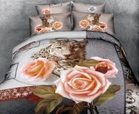 Quilt cover sets100%cotton wedding 3d bedding set/bedspread/tiger Rose print bedding set/bed set/duvet cover/sheet animal print