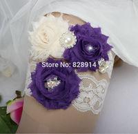 New Design Lace Trim Shabby Flower Wedding Garter for Bridal Garter made of Purple Shabby Flower Handmade