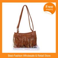 Free Shipping 100/lots 2014 Hot Sale Handbags Small Fashion Fringed Shoulder Bag Diagonal  Casual Handbags Three Color