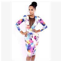 Women Dress Sexy Casual Dress colorful long sleeve dress Bodycon Slim Party gauze Dress size S M L