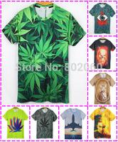 wholesale 50pcs new summer fashion 3D print cartoon animal men's casual short-sleeved 3D t shirt men via Express shipping