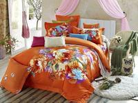 Orange Quilt cover sets100%cotton wedding 3d bedding set/bedspread/FLOWER egyptian oil painting/bed set/duvet cover/