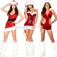 HOT Sexy Women Santa Christmas Sequins Costume Hollow Dress Leg warmers Stocking  Free size