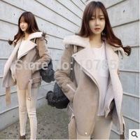 2014 New Brand Down & Parkas European Fashion Ladies Lambs wool Lapel Women Winter thick Jacket Women Warm Coat
