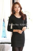 New 2014 Hot Europe Women Dress Thick Cotton Wool Bottom O Neck Long Sleeve Add Diamond Fashion High Quanlity Slim Casual Dress