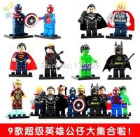 9pcs/lot The Avengers Superheroes IRON MAN X-MEN BATMAN Hulk Captain blocks DIY figure robot toys Compatible boy gift puzzles