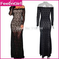 2015 New Women Evening Dress Long Sleeve Elegant Black Lace Formal Evening Dress Long Celebrity Dresses Mesh Gown 3