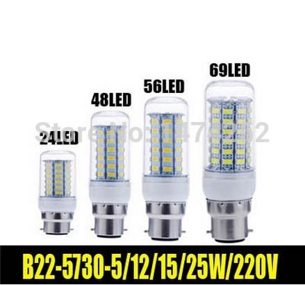 1pcs 24led 48led 56led 9leds smd 5730 5w 12w 15w 25w b22 led milho lâmpada