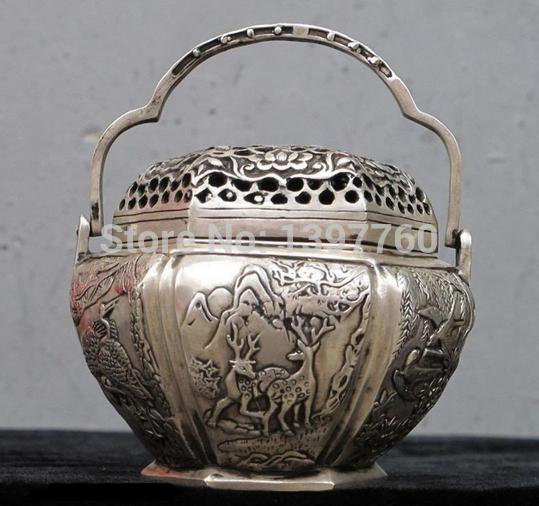 "MISS 00610 5""Chinese Hand Made Silver Copper Crane & Deer & Bird ancient warm hand warmer(China (Mainland))"