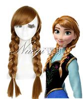 Anime Frozen Princess Anna Wig Brown Weaving Braid Cosplay party wig Kanekalon Fiber no lace Hair wigs Free shipping