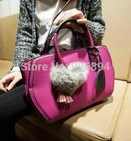 High quality fashion 2015 PU Leather Tassel hit color rabbit pendant lady handbag shoulder bag messenger bag Trapeze 6 colors