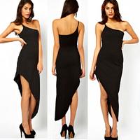 European Fashion New Black Sheath Mid Calf Sexy Long Dress Women Oblique One Shoulder Sleeve Asymmetrical Kleider