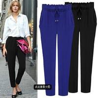 Spring Autumn New Plus Size Loose Harem Pants Trousers for Fat Women Ladies Empire Waist XL XXL 3XL 4XL 5XL 6XL Blue Black