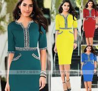 2014 Autumn Winter New Vestidos Women Casual Elegant Office Half Sleeve Lace V-Neck Slim Red Plus Size Pencil Midi Party Dress