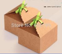 Free shipping wholesale 80pcs/lot 8.8*8.8*6cm fashion baking food packaging box,kraft paper biscuit packaging box