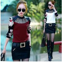 2014 Autumn Winter New Korean Style Women Base Blouse Printing Long Sleeve Stand Collar Diamonds Pullover Shirt