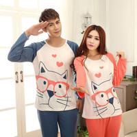 Lovely cotton qualitative lovers pajamas long-sleeved cartoon glasses dog men and women leisure householdwear