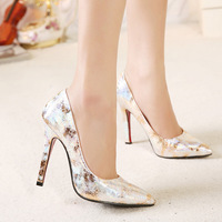 2015 spring fashion pointed toe gold paillette women's stiletto shoes 613 - 1