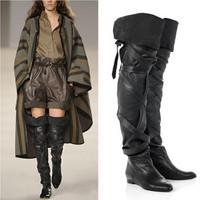 2015 New Winter Designer Brand Women Genuine Leather Boots Flat Gladiator Boots Thigh High Boots Women Shoes Botas Femininas